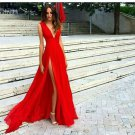 Split Prom Dresses Red Formal DressSexy Slit Evening Dress V-neckline Red Evening Gowns