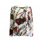 Vintage classic chains belts unique women's long sleeves blouse top M Y16631