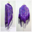 Purple hands tie dyed 100% pure silk tassels oversize women shawl P611501