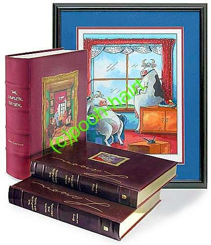 Far Side Complete Signed Limited Edition, Gary Larson Leather bound w/Print 9780740743610 0740743619