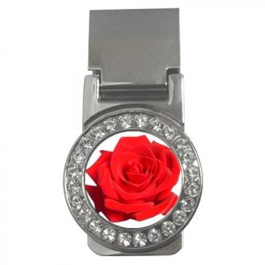 Red Rose CZ Money Clip