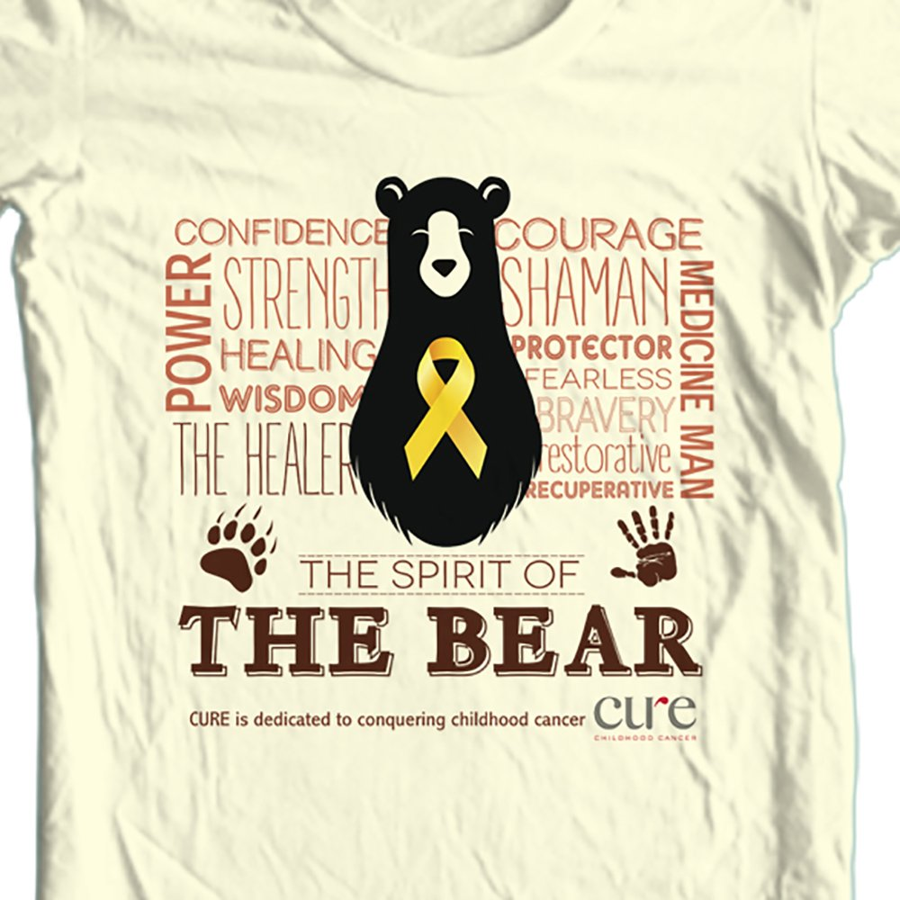 Size: Small / The Bear t-shirt benefiting CURE Childhood Cancer: Color: Tan