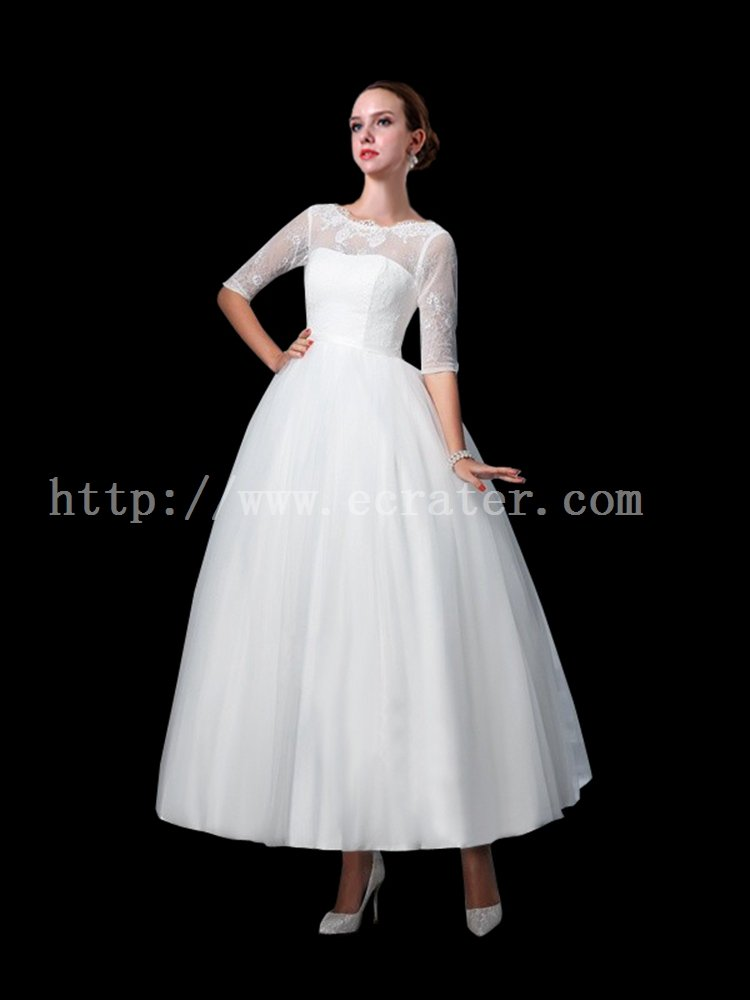 Cheap 50s Belle Length Lace Wedding Dress with 1/2 Long Sleeves