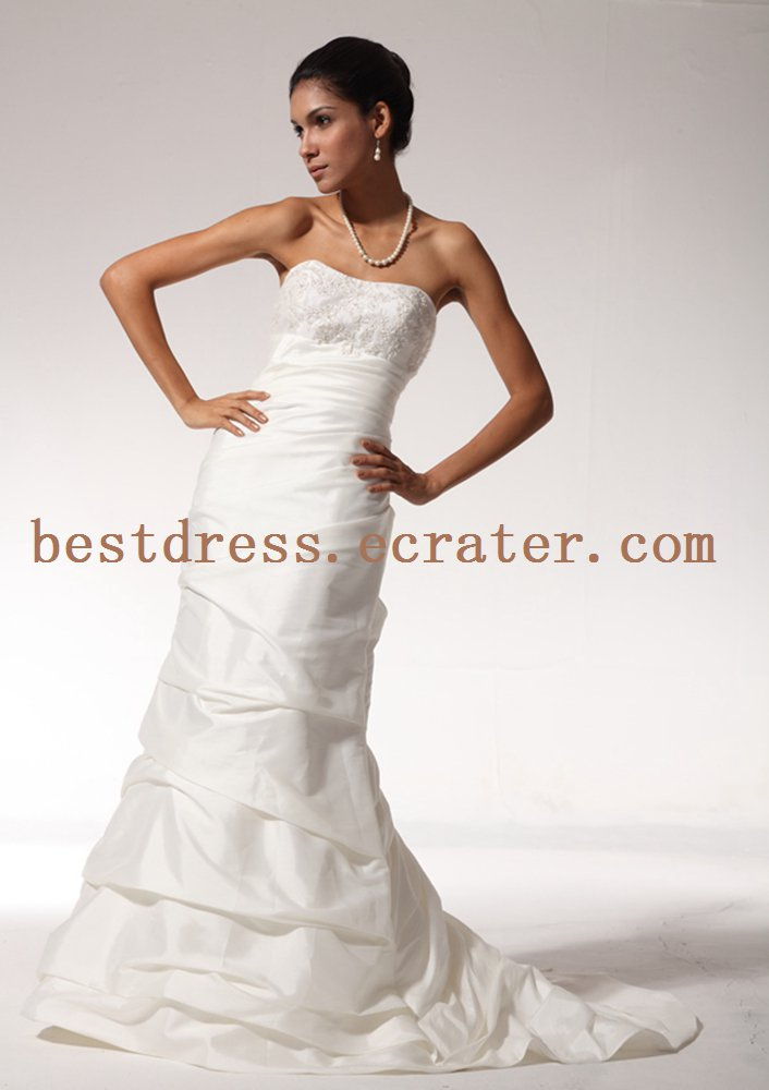 Sheath Wedding Dress with Beading and Side Drape