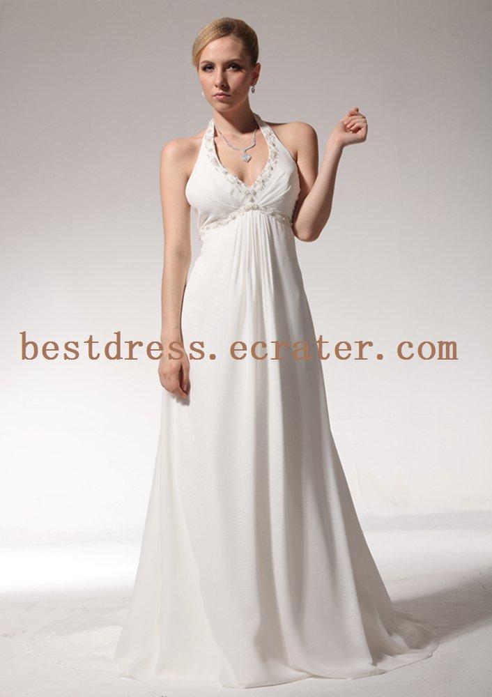 Simple Halter Open Back Summer Wedding Dress