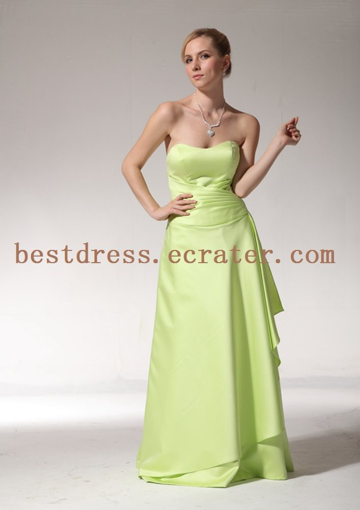 Simple Apple Green Full Length Bridesmaid Dresses