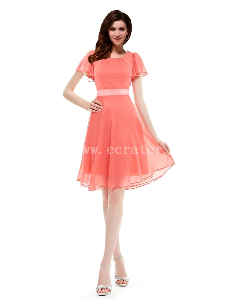 Coral Short Butterfly Sleeves Semi Formal Dresses
