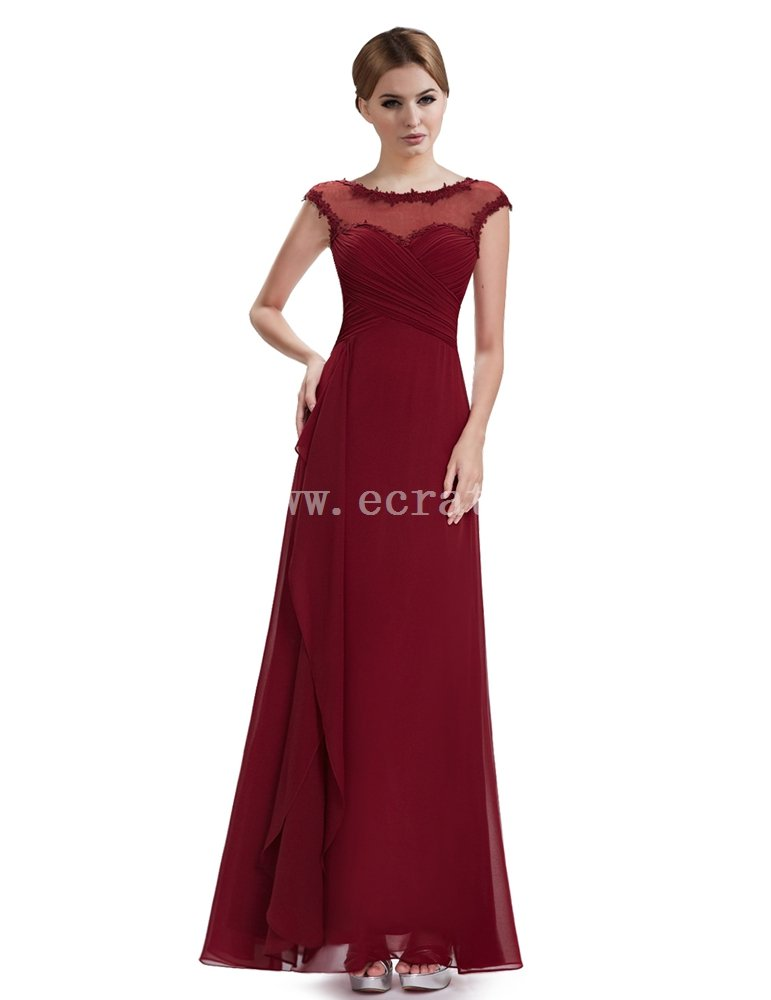 Beautiful Burgundy Illusion Neckline Evening Dress