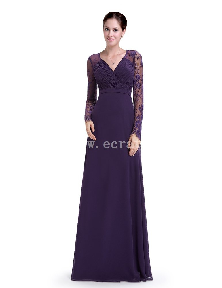 Elegant Purple Long Sleeves Formal Dress