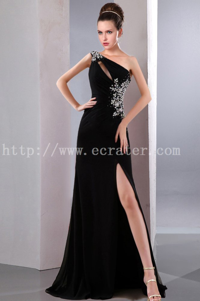 Sexy Black One Shoulder Prom Dress with Slit