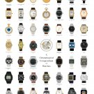 """Chronological Compendium of Watches Chart   13""""x19"""" (32cm/49cm) Polyester Fabric Poster"""