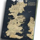 "Game of Thrones Map  8""x12"" (20cm/30cm) Canvas Print"
