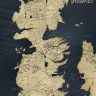"Game of Thrones Map  18""x28"" (45cm/70cm) Canvas Print"