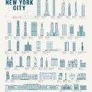 "New York Buildings Chart 18""x28"" (45cm/70cm) Canvas Print"