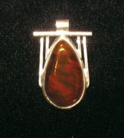 Handcrafted Petrified Wood and Fine Silver Cabochon Pendant