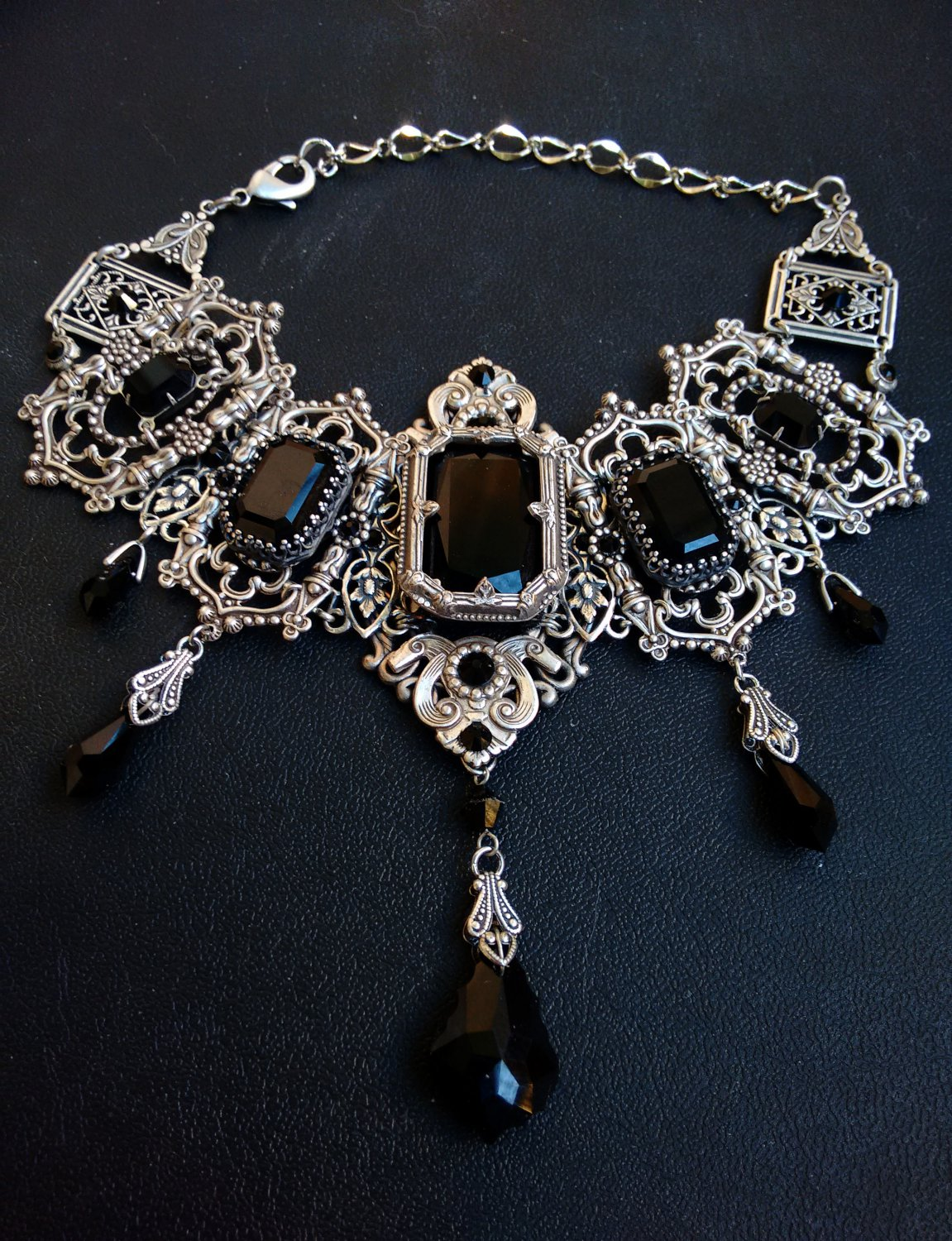 Silver Filigree Gothic Bridal Choker with Black Swarovski Crystals