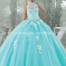 Cute Top Halter Ball Gown Tiffany Blue Sweet 15 Dresses