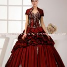 Traditional Burgundy Taffeta Ball Gown Sweet 15 dress with Bolero