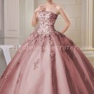 Exclusive Strapless Ball Gown Dusty Rose Quinceanera Dress