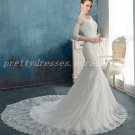 3/4 Sleeves Scoop Neckline Mermaid/Trumpet Lace Wedding Dress