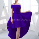 Modern Off Shoulder Royal Blue High Low Prom Dress