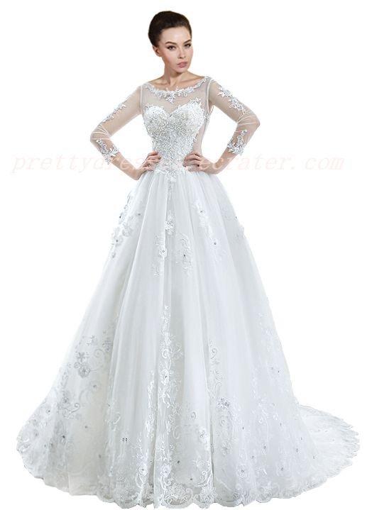 Long Sleeves Keyhole Back Muslim Wedding Dress Corset Back