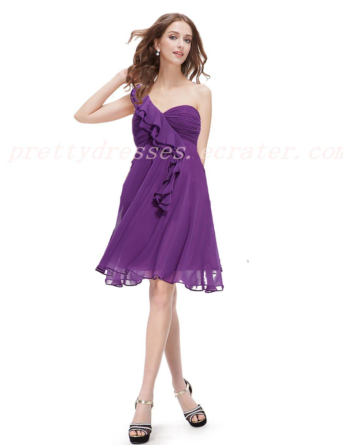 Cute One Shoulder Plum Short Bridesmaid Dress