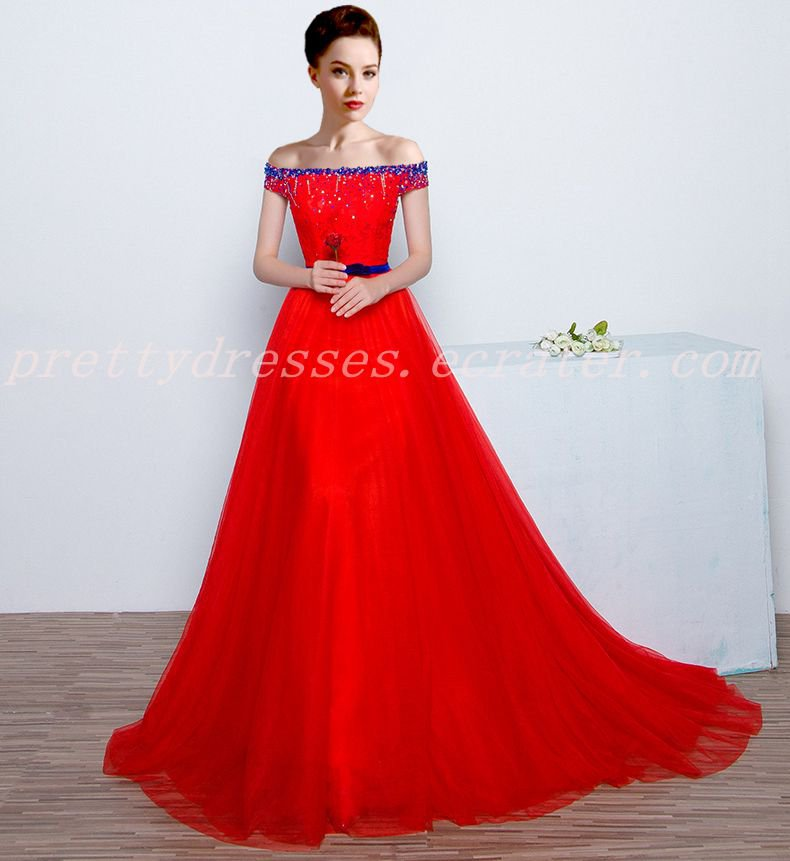 Attractive Off Shoulder Red Wedding Dress With Royal Blue Beads