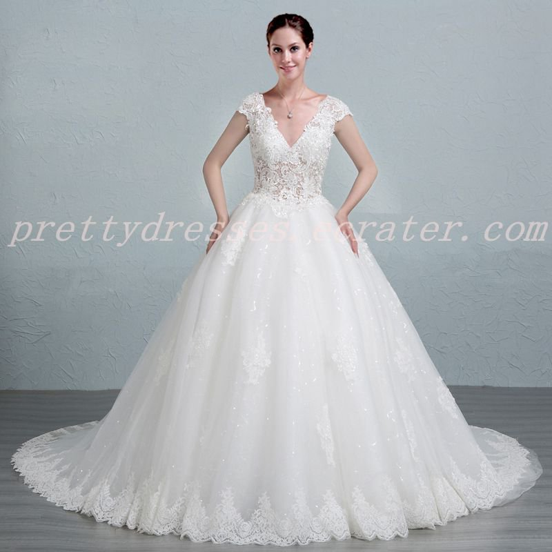 Sexy Plunge Neckline Ball Gown Lace Wedding Dress