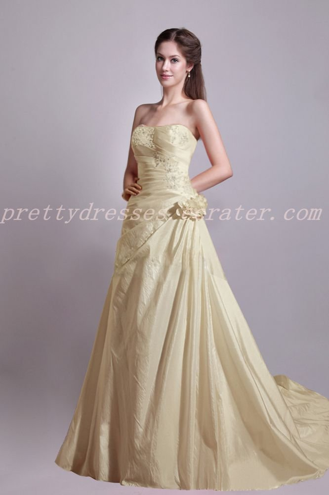 Charming Champagne Taffeta Wedding Dress With Handmade Flowers