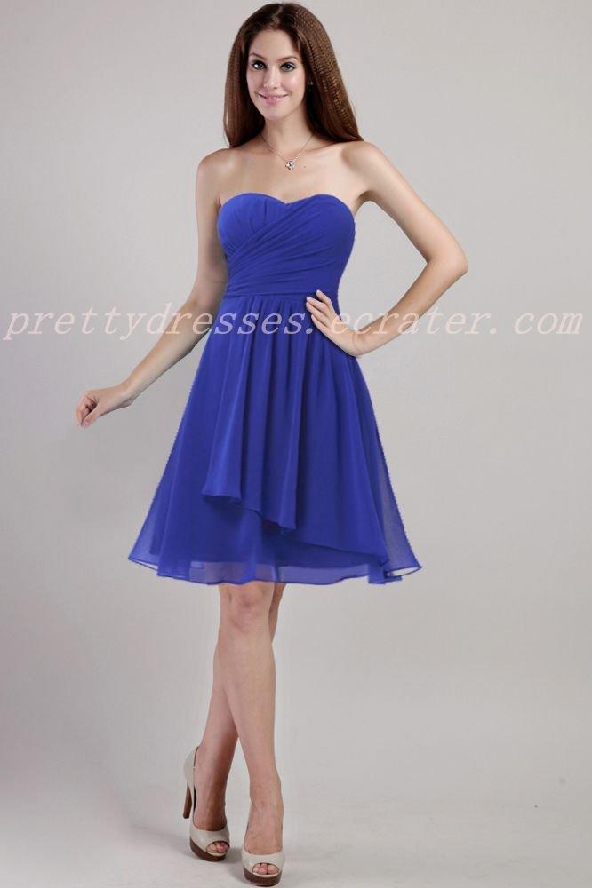 Pretty Short Length Royal Blue  Bridesmaid Dress