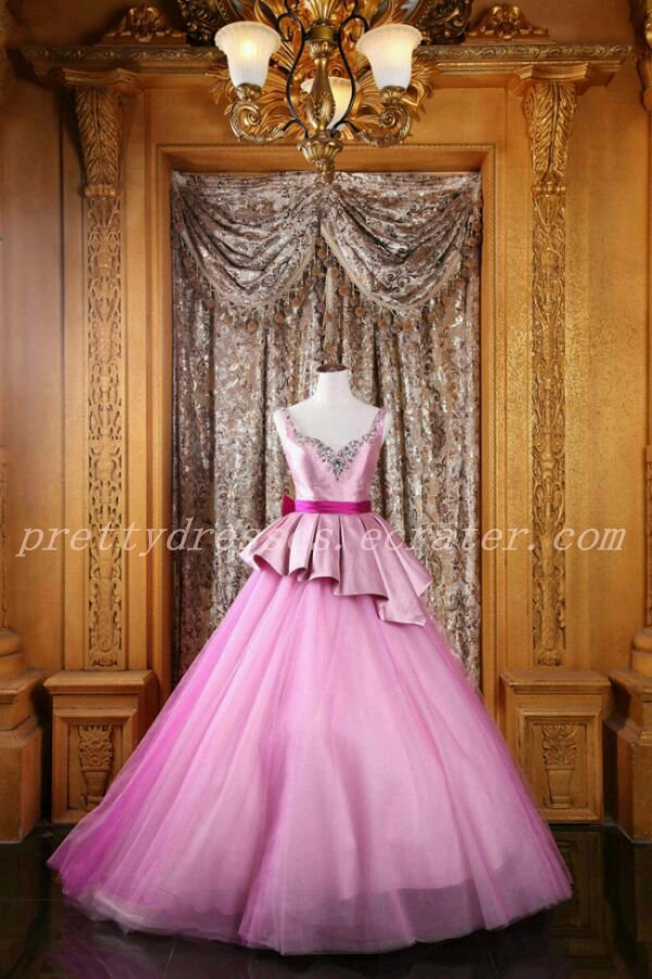 Straps Ball Gown Full Length Pink Quinceanera Dress With Fuchsia Sash