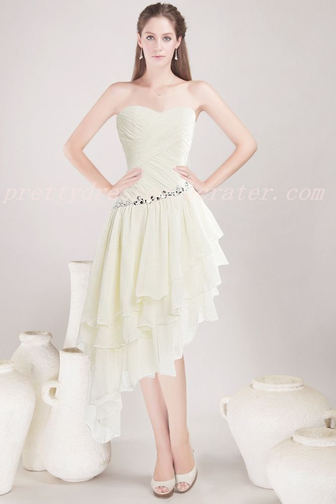 Beautiful Sage Chiffon High Low Prom Dress With Diamond