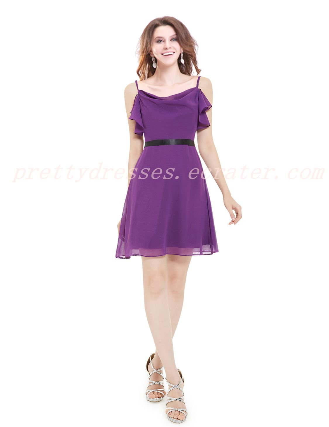 Lovely Spaghetti Straps Short Length Purple Bridesmaid Dress