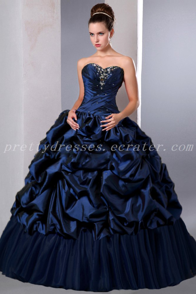 Classy Sweetheart Ball Gown Full Length Dark Navy Sweet 16 Dresses