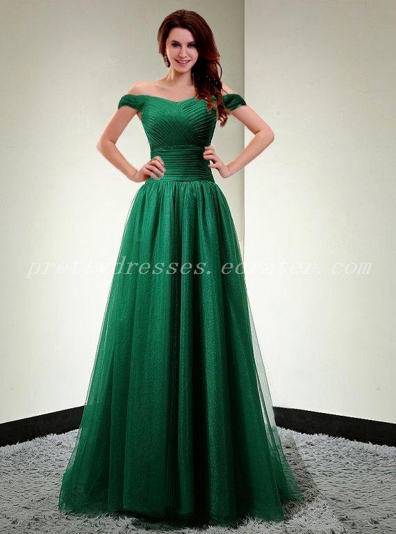 Charming Off Shoulder Hunter Green Prom Dress