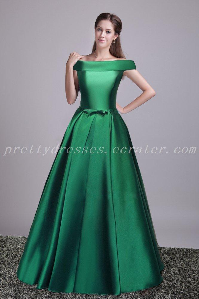 Pretty Off Shoulder Hunter Green Bridesmaid Dress With Belt