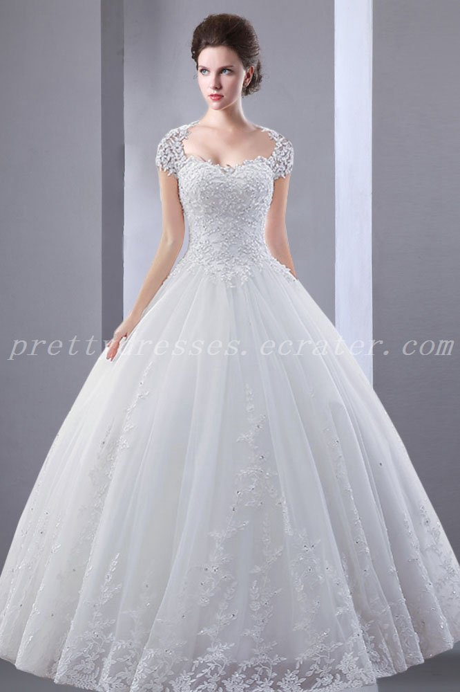 Keyhole Back Ball Gown Lace Wedding Dress