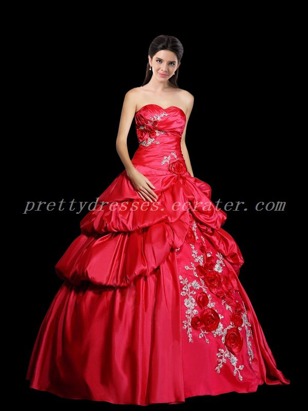 Drapped Taffeta Sweetheart Watermelon Colored Quinceanera Dress