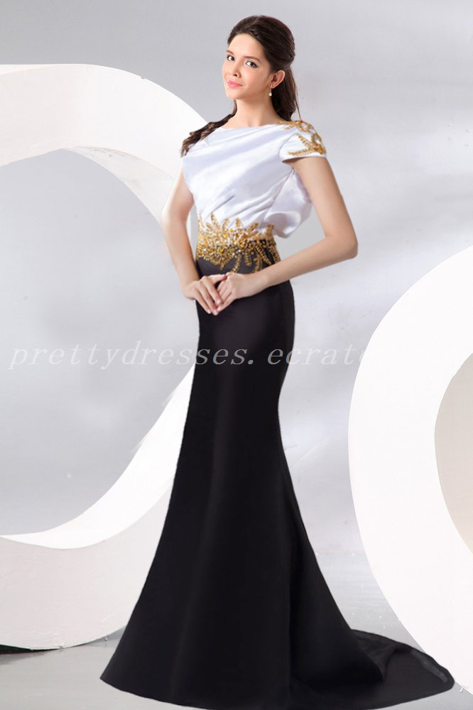 Short Sleeves Black And White Formal Evening Dress With Gold Beads