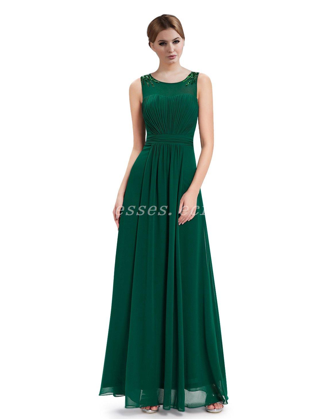 Floor Length Scoop Neckline Green Chiffon Mother Of The Bride Dresses