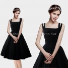 Vintage Spaghetti Straps Knee Length Black Prom Dress