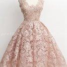 Vintage Square Neckline Dusty Rose Lace Graduation Dress