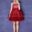 Cute Puffy Mini Length Red And White Sweet 16 Dresses
