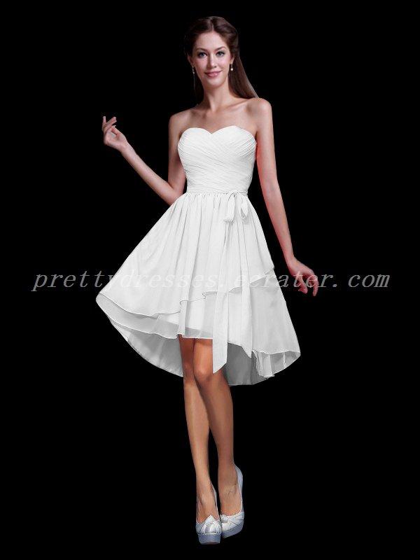 Cute Sweetheart Front Short Back Long Bridesmaid Dresses