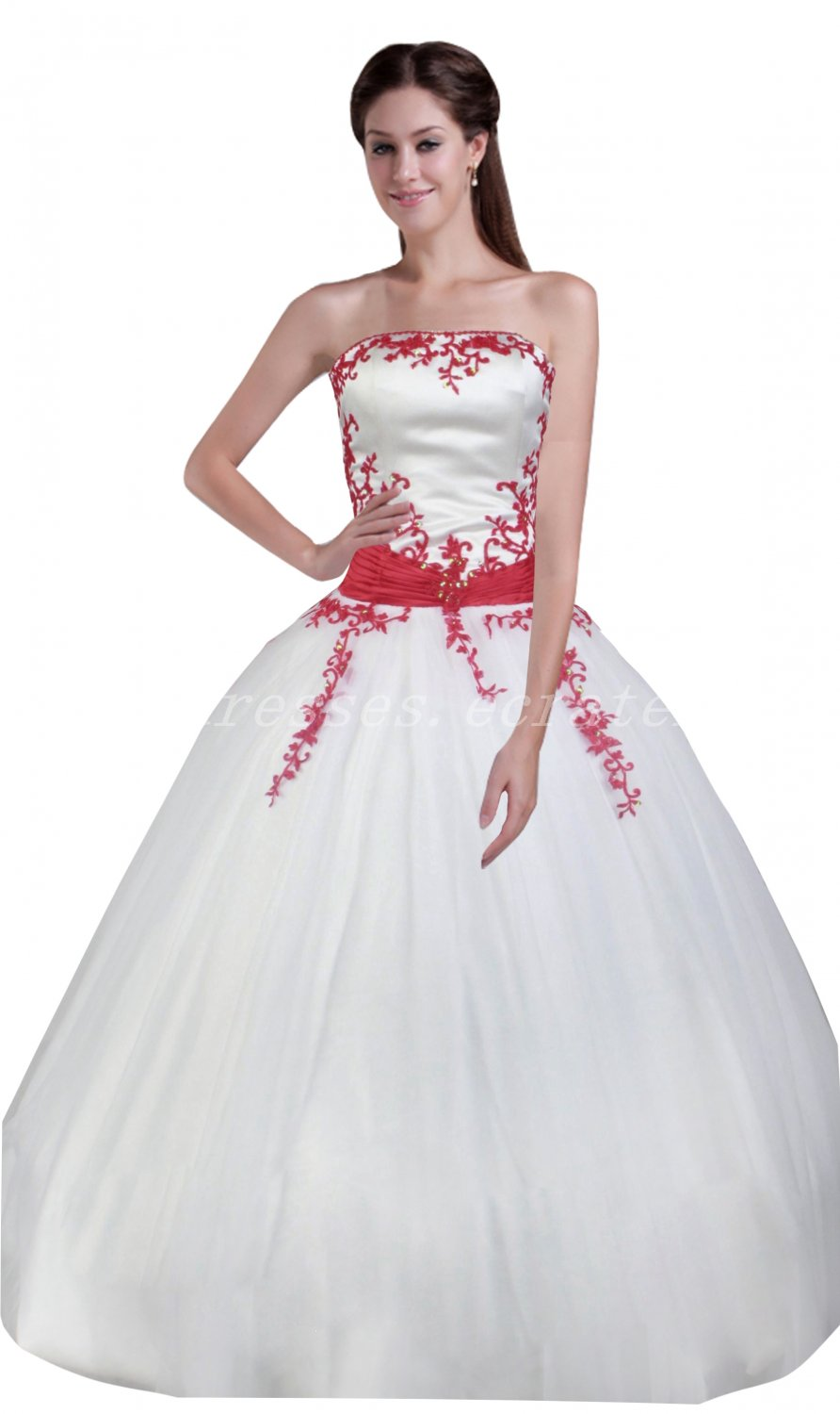 Strapless White And Red Ball Gown Sweet 15 Dresses With Lace Appliques