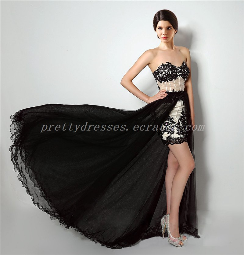 Champagne And Black High Low Prom Dress With Lace