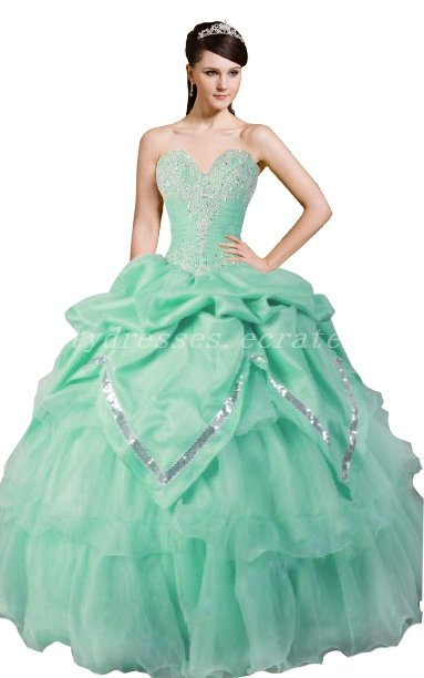 Beautiful Ball Gown Organza Mint Green Quinceanera Dresses