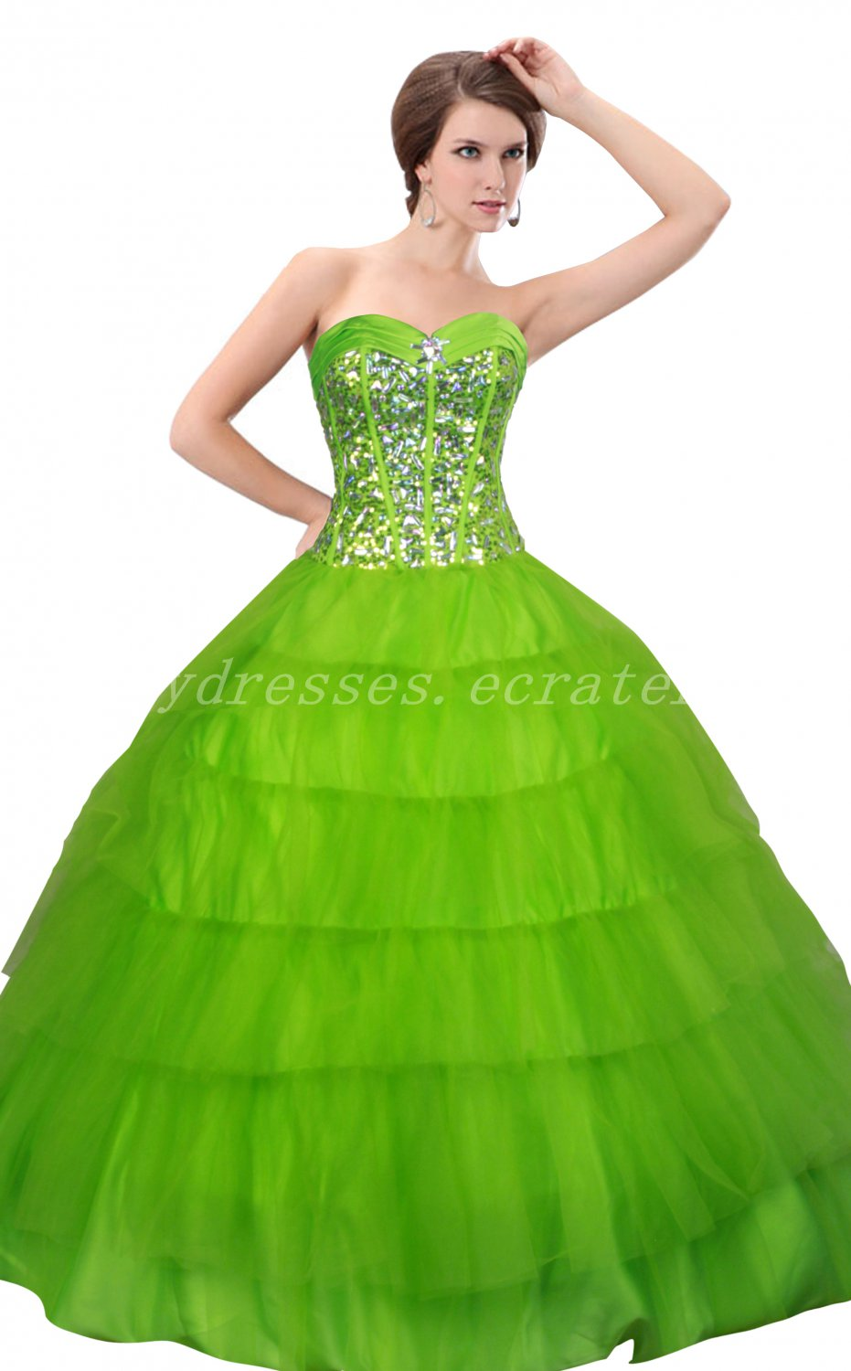 Pretty Ball Gown Emerald Green Quinceanera Dresses With Sequins