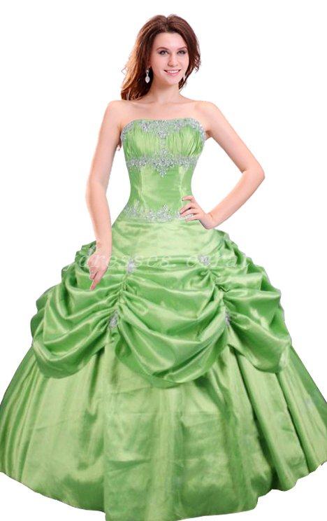 Cute Strapless Ball Gown Lime Green Taffeta Quinceanera Dresses